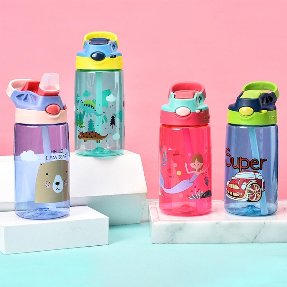 DILLER 美國tritan材質兒童水瓶 防摔兒童鴨嘴吸管水杯 卡通兒童水壺 500ml