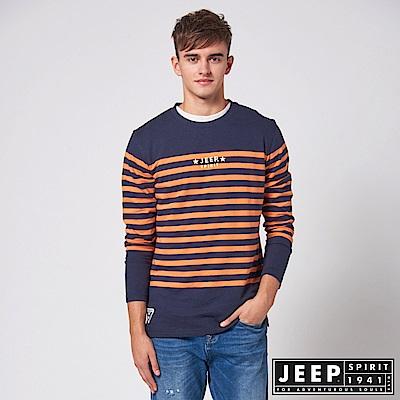 JEEP 經典條紋休閒長袖TEE - 橘藍
