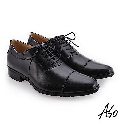 A.S.O 健步通勤 舒適透氣真皮鞋  黑