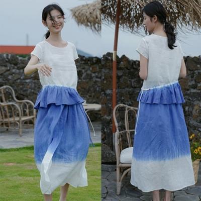 純手工吊染成衣環保染亞麻上衣+長裙套裝-設計所在