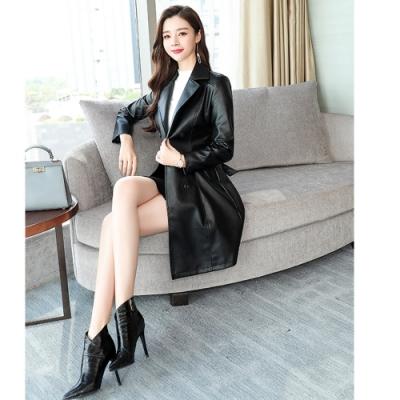 2F韓衣-韓系翻領排扣繫帶皮革外套-2色(M-2XL)