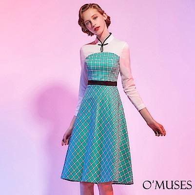 格紋旗袍洋裝-OMUSES