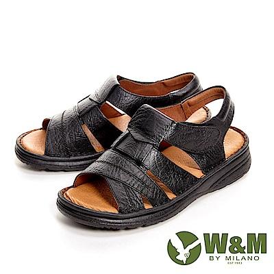 W&M可調式魔鬼氈軟墊厚底 男涼鞋-黑(另有咖啡)