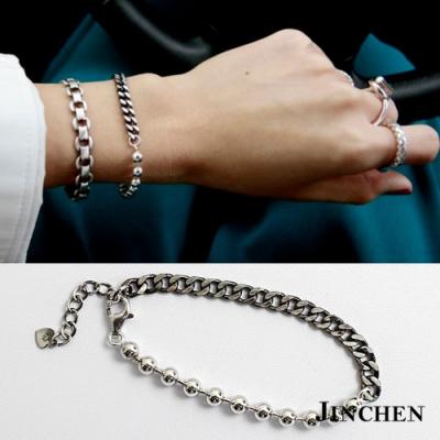 JINCHEN 純銀珠珠鍊條不對稱手鍊