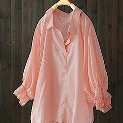 透氣輕薄花瓣袖純棉襯衫九分袖套頭防曬衣-設計所在