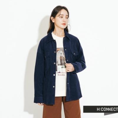 H:CONNECT 韓國品牌 女裝-復古燈芯絨雙口袋外套-藍