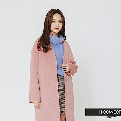 H:CONNECT 韓國品牌 女裝-純色知性毛呢外套-粉
