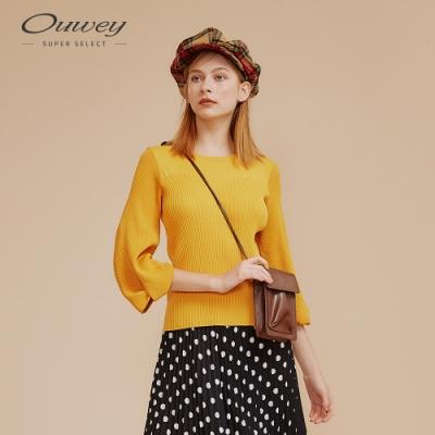 OUWEY歐薇 法式羅紋花苞袖針織上衣(黃/黑)