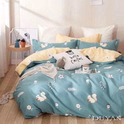 DUYAN竹漾 100%精梳純棉 雙人加大四件式舖棉兩用被床包組-小春日和 台灣製
