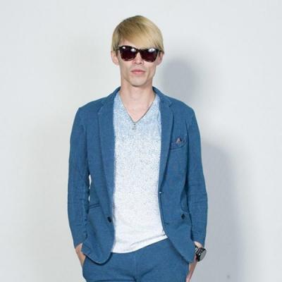 休閒西裝外套丹寧牛仔鹿子織丹寧夾克(2色) ZIP日本男裝