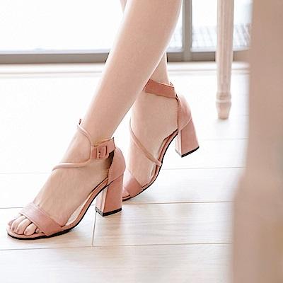 唯美韓系~細繩造型高跟涼鞋-OB大尺碼
