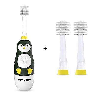 日本Mega Ten幼童電動牙刷可愛企鵝+專用刷頭(2入)
