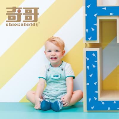 奇哥 仙人掌綠白條紋吊帶褲/背帶褲 (6個月)