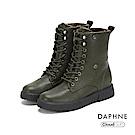 達芙妮DAPHNE 短靴-圓頭舒適短毛內裡綁帶式短靴-橄欖綠
