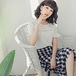 純色高含棉鏤空布蕾絲上衣-OB嚴選