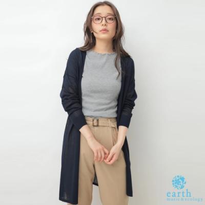 earth music 長版素面薄針織開襟罩衫
