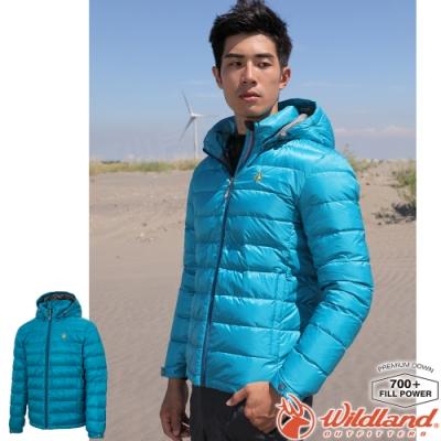 Wildland 荒野 0A72102-46土耳其藍 男收納枕拆帽極暖鵝絨外套