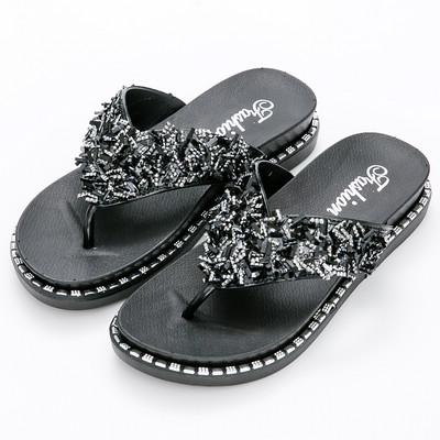 River&Moon防水鞋-閃亮碎鑽夾腳厚底涼拖鞋-黑