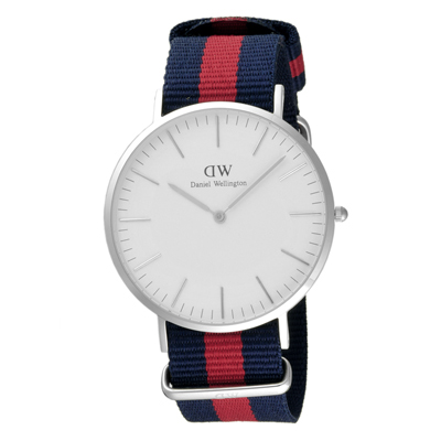 Daniel Wellington Oxford 時尚男錶-銀框x藍紅藍錶帶/40mm