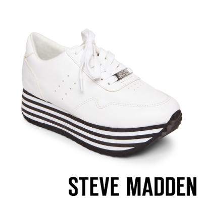 STEVE MADDEN-MARGIE個性潮流素色皮質高厚底綁帶休閒鞋-特殊紋白色