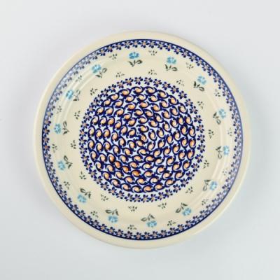 波蘭陶 青藍小花系列 圓形餐盤 25cm 波蘭手工製