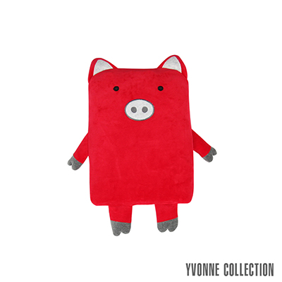 YVONNE COLLECTION 豬豬背包萬用被- 紅