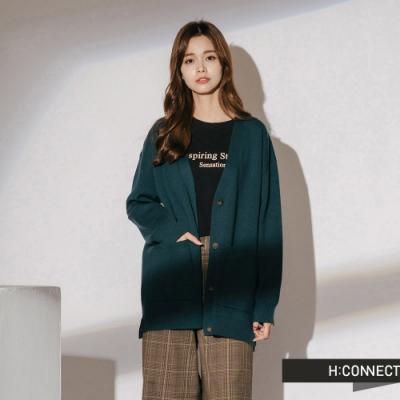 H:CONNECT 韓國品牌 女裝-口袋排扣針織外套-綠