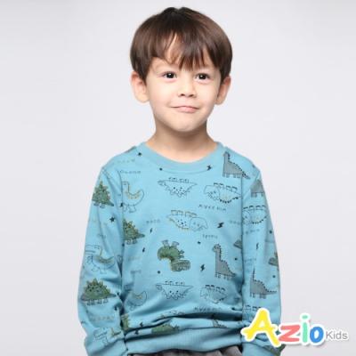 Azio Kids 男童 上衣 滿版恐龍閃電星星長袖上衣(藍)