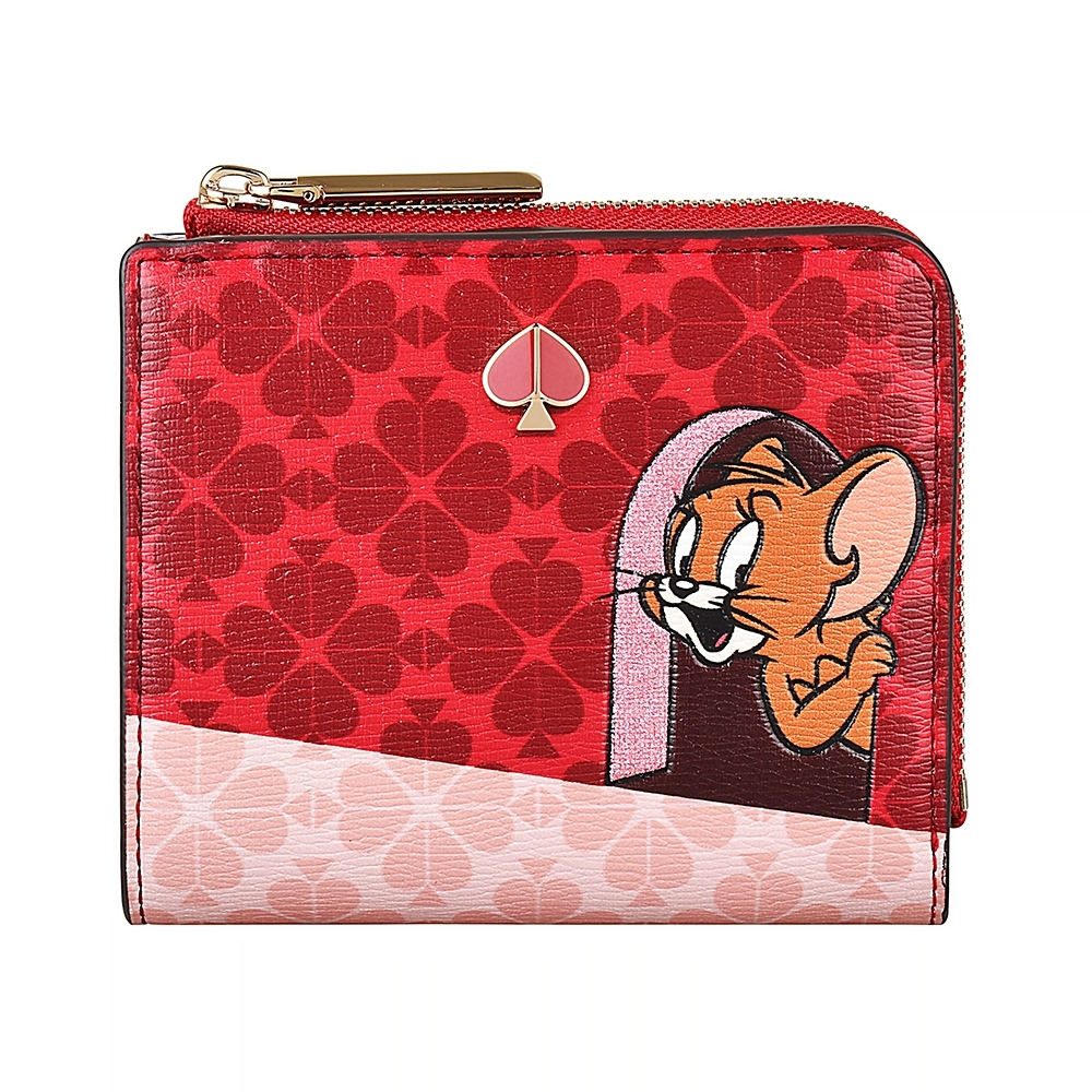 Kate Spade Tom&Jerry黑桃LOGO PVC 6卡扣式短夾(紅)