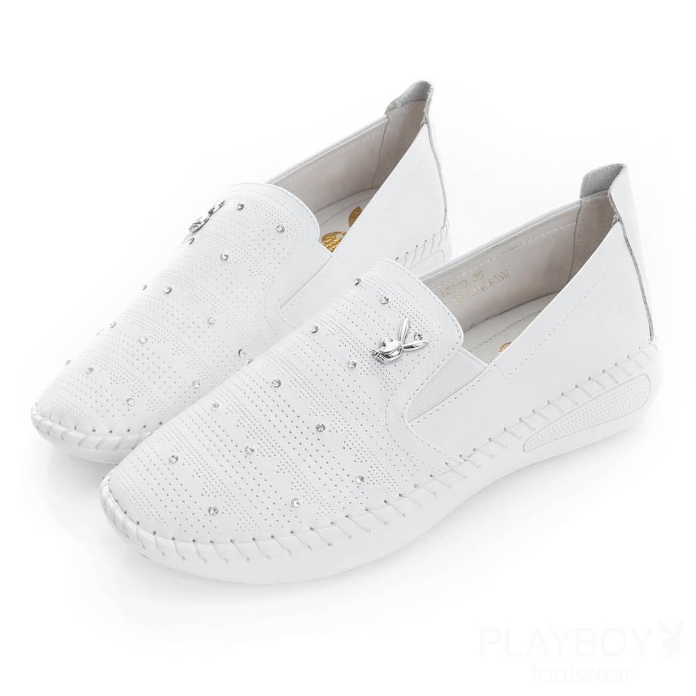PLAYBOY星空河畔 水鑽簡約休閒樂福鞋-白