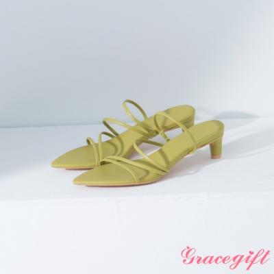 Grace gift-尖頭層次細帶中跟涼鞋 綠