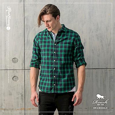 ROUSH 牛仔撞色法蘭絨格紋襯衫(2色)