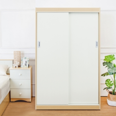 Birdie南亞塑鋼-4.2尺拉門/推門塑鋼衣櫃(白橡色+白色)-125x61x200cm