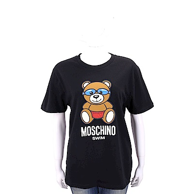 MOSCHINO Swim 泳鏡泰迪熊寶寶黑色寬版棉質T恤
