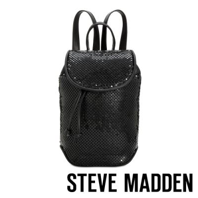 STEVE MADDEN-BAPRIL 個性皮質幾何束口後背包-特殊紋黑色