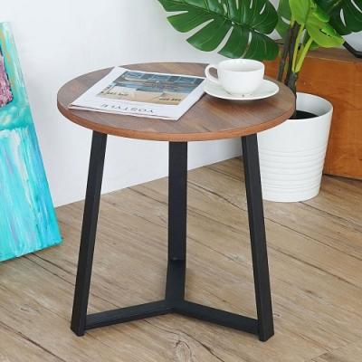 Homelike 夏格工業風圓形茶几-積層木-45x45x45cm