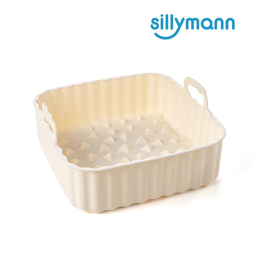 【韓國sillymann】 100%鉑金矽膠氣炸鍋烤箱方形烘烤藍S(1000ml-奶油白)