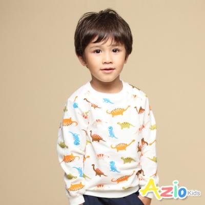 Azio Kids 男童 上衣 滿版彩色恐龍長袖上衣T恤(白)