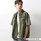 純棉寬版短袖軍裝襯衫(2色) ZIP日本男裝