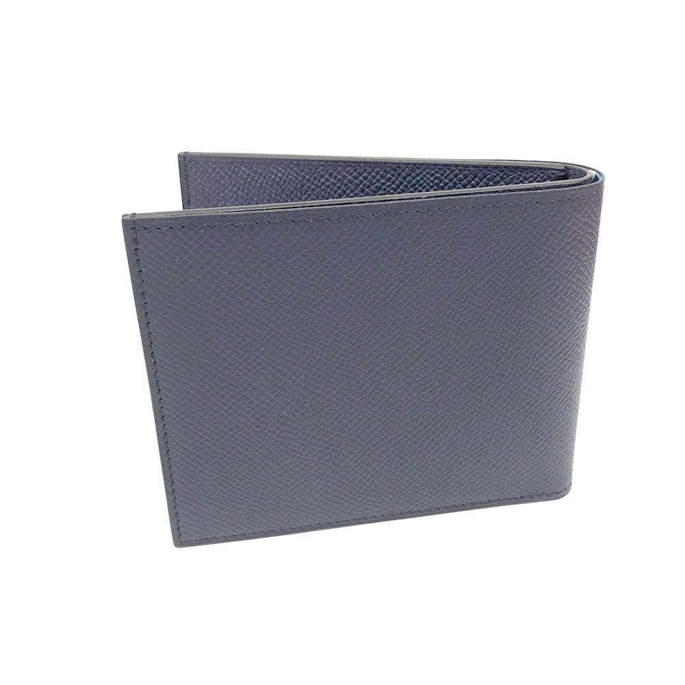 HERMES 經典限量款全皮絲巾短夾(深藍)