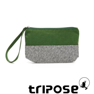 tripose漫遊系列岩紋x微皺尼龍多功能手拎袋(大)草綠