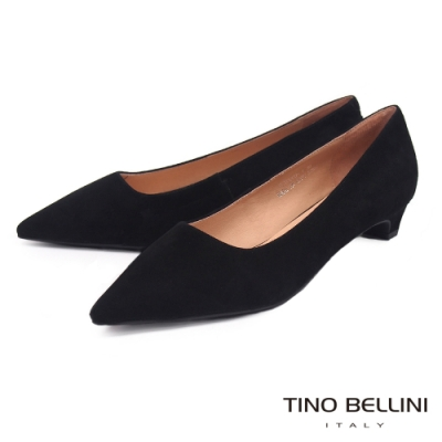 Tino Bellini 啞光羊麂皮尖楦低跟鞋 _黑