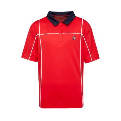 FILA 男抗UV吸濕排汗POLO衫-紅色 1POT-5002-RD