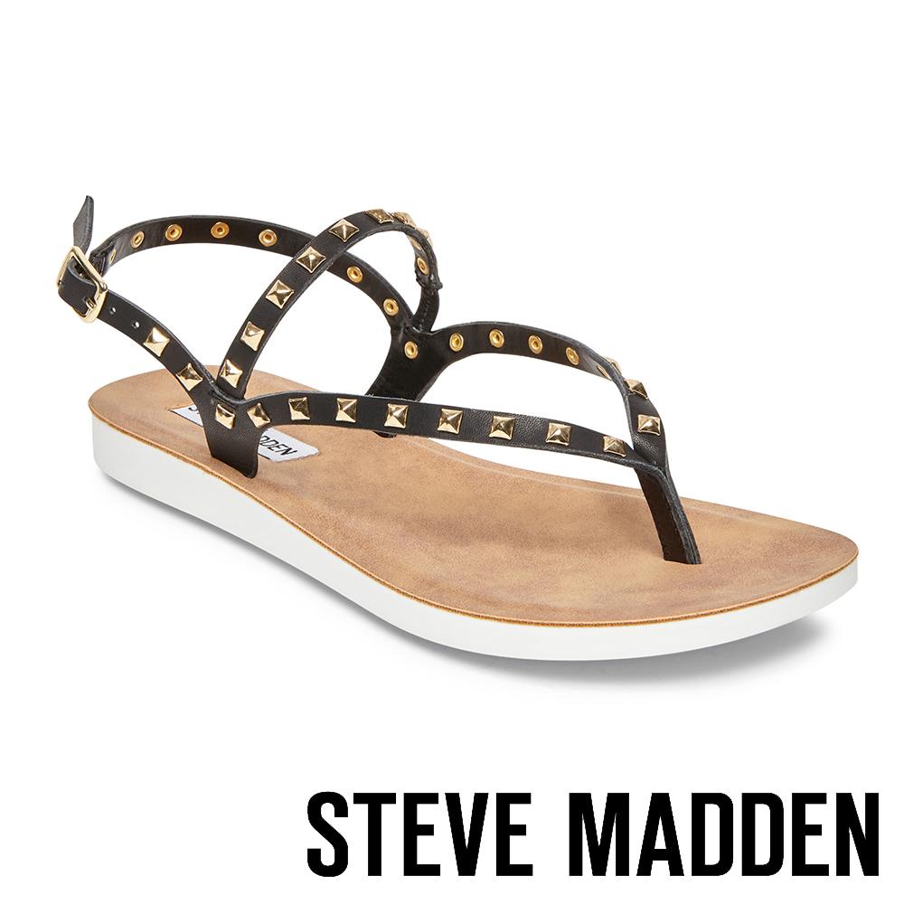 STEVE MADDEN-KNOX 金色鉚釘羅馬繫帶平底涼鞋-黑色