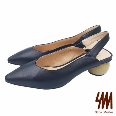 【SM】尖頭素色彈性帶後拉低跟涼鞋