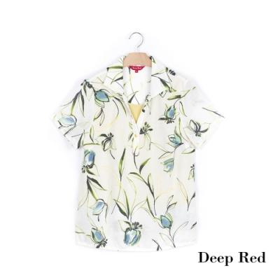 DeepRed 春日美學花藝翻領設計上衣(1色)