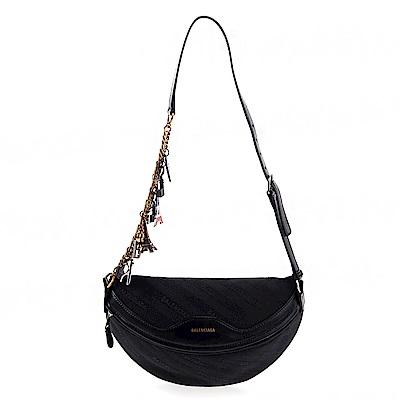 Balenciaga 新款緹花標識搭紀念吊飾揹帶斜跨包/腰包 (黑色)