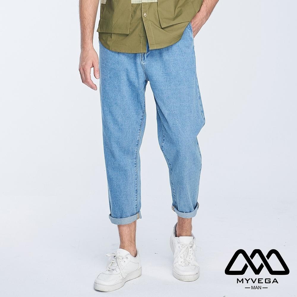 MYVEGA MAN打摺哈倫牛仔褲-藍