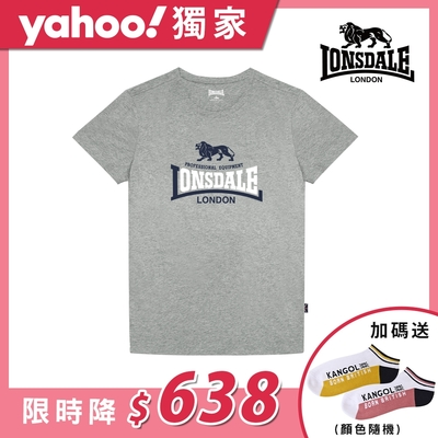 【LONSDALE 英國小獅】經典LOGO短袖T恤-麻花灰LT001