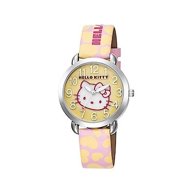 HELLO KITTY 凱蒂貓 繽紛愛心立體貓頭手錶 粉紅黃x黃面/36mm